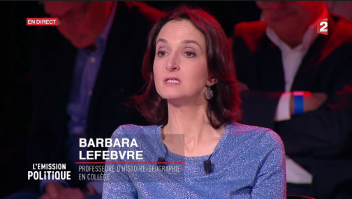 Barbara Lefebvre lors de l'émission politique de France 2 du 7 avril, face à Emmanuel Macron.