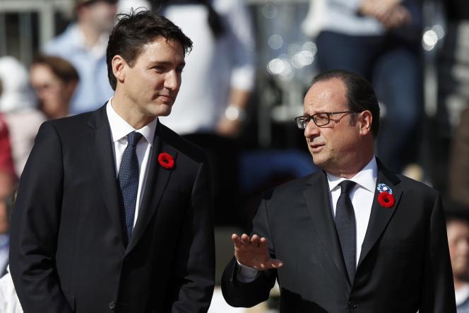 Justin Trudeau et François Hollande à Arras, dimanche 9 avril.