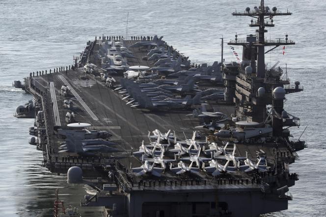 L'USS «Carl Vinson» dans le port de Busan, lors des manœuvres militaires conjointes entre les Etats-Unis et la Corée du Sud, le 15 mars.