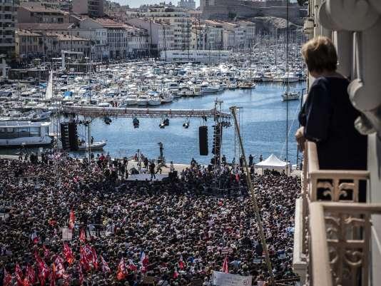 Meeting de Jean-Luc Mélenchon sur le Vieux-Port de Marseille, le 9 avril.