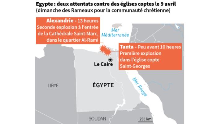 Les deux explosions dans des églises coptes ont eu lieu à Tanta et Alexandrie, en Egypte.