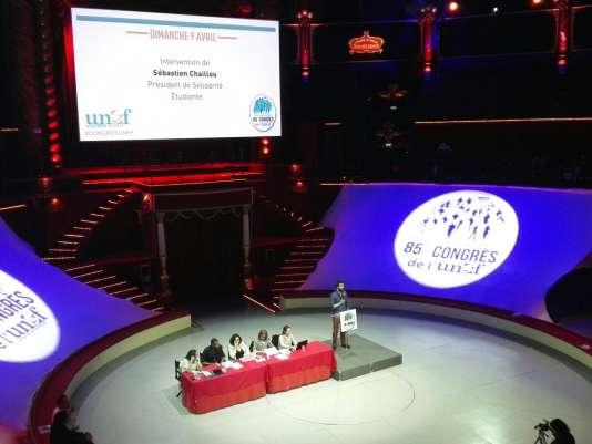 Au 85e congrès de l'UNEF, à Paris, dimanche 9 avril.