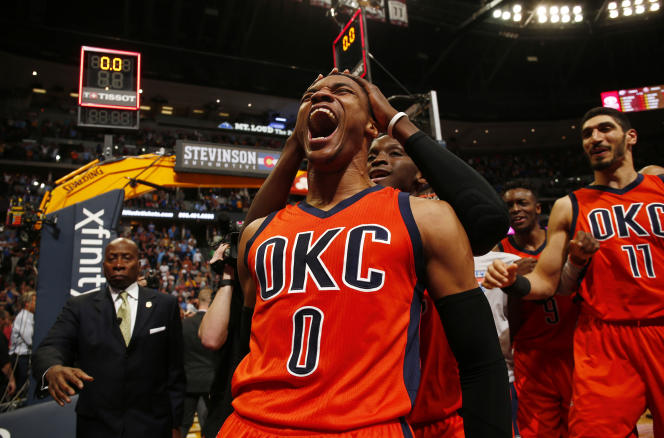 Russell Westbrook, d'Oklahoma City, le 9 avril contre les Denver Nuggets.