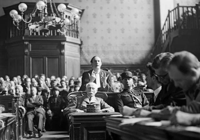 Le maréchal Philippe Pétain, lors de son procès en juillet 1945.
