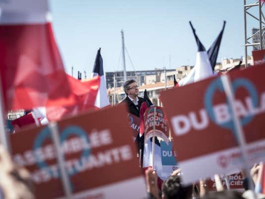 Meeting de Jean-Luc Melenchon, sur le vieux port de Marseille.