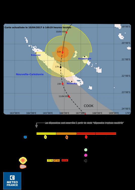 Le course du cyclone telle qu'elle est prévue par Météo France Nouvelle-Calédonie.