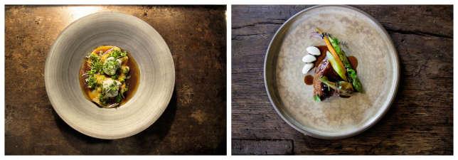 Ravioles de langoustine au bouillon corsé (à g.) ; demi-pigeon de Mesquer (à dr.).