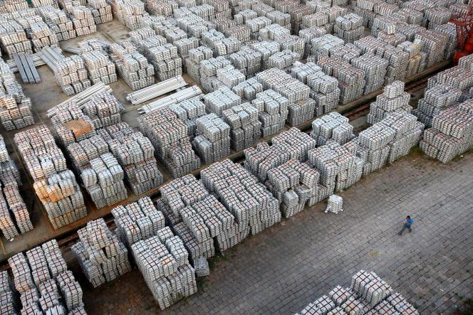 Lingots d'aluminium à Wuxi, (Jiangsu), en 2012.