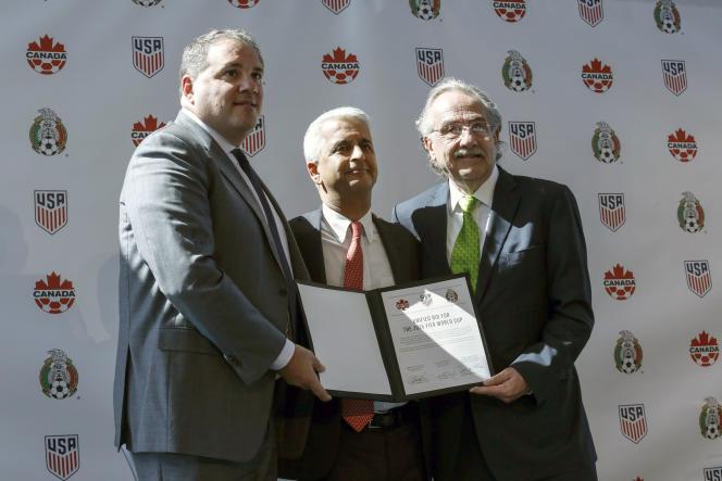 Présentation de la candidature conjointe des Etats-Unis, du Canada et du Mexique à l'organisation de la Coupe du monde 2026 de football,à New York le 10 avril