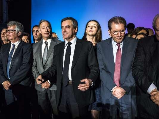 Francois Fillon lors de son meeting au Parc Chanot de Marseille le 11 Avril .