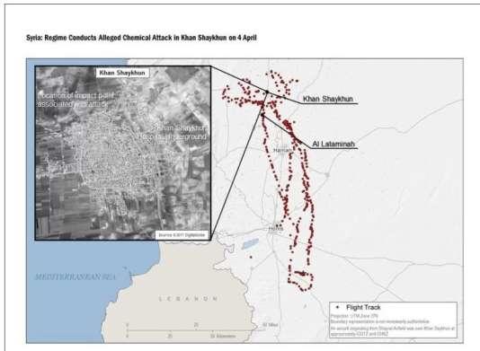 Coordonnées de l'avion qui a décollé de l'aéroport militaire de Chayrat pour se rendre jusqu'à Khan Cheikhoun le 4 avril, diffusées par le gouvernement américain.