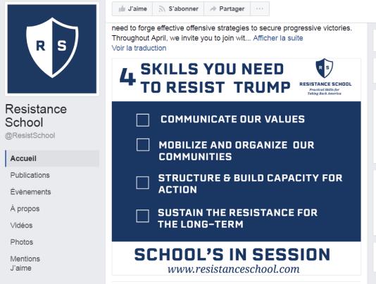 La page Facebook de la«Resistance School»: des cours en ligne organisés par des étudiants de la prestigieuse école d'affaires publiques «Kennedy School of Government», de l'université d'Harvard.