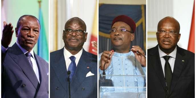 Les présidents Alpha Condé (Guinée), Ibrahim Boubacar Keïta (Mali), Mahamadou Issoufou (Niger) et Roch Marc Christian Kaboré (Burkina Faso).
