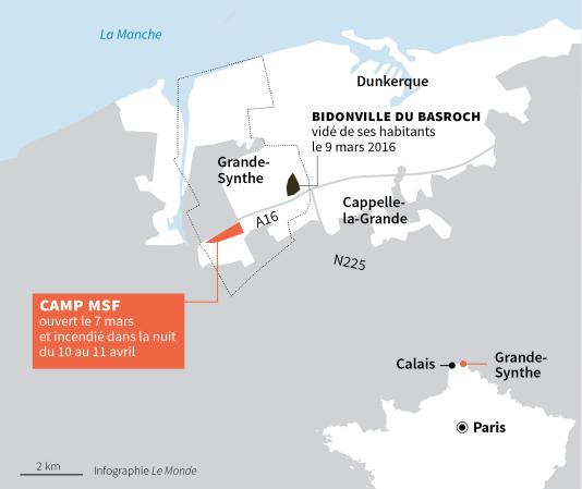 Carte de la région où se situe le camp de Médecins sans frontières.