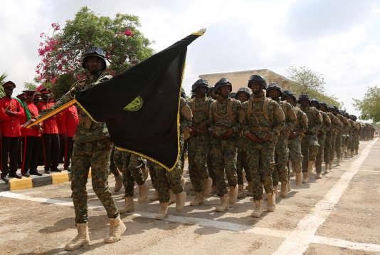 Des soldats somaliens, le 12 avril, à Mogadiscio.