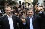Mahmoud Ahmadinejad (à droite), aux côtés d'Hamid Baghaei, son « frère» qu'il soutenait jusqu'à ce qu'il se présente lui-même à la présidentielle, arrivent au ministère de l'intérieur iranien pour déposer leur candidature, mercredi 12avril.