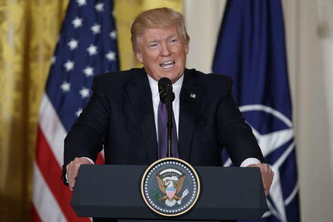 Le président des Etats-Unis, Donald Trump, lors d'une conférence de presse à la Maison Blanche, le 12 avril 2017.