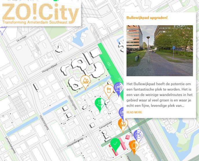 La plate-forme ZO!City recense les bureaux vacants, les idées pour les occuper ainsi que les aménagements proposés pour dynamiser le quartier d'Amstel3 d'Amsterdam.