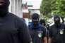 Des membres du « Collectif des 500 frères» devant la préfecture à Cayenne (Guyane) le 1er avril.