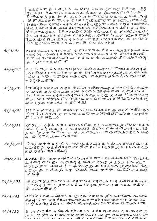 Extrait du tome IV du «Livre de vie» du père de Castelet, un journal intime crypté de 300pages découvert en perquisition.Document «Le Monde»