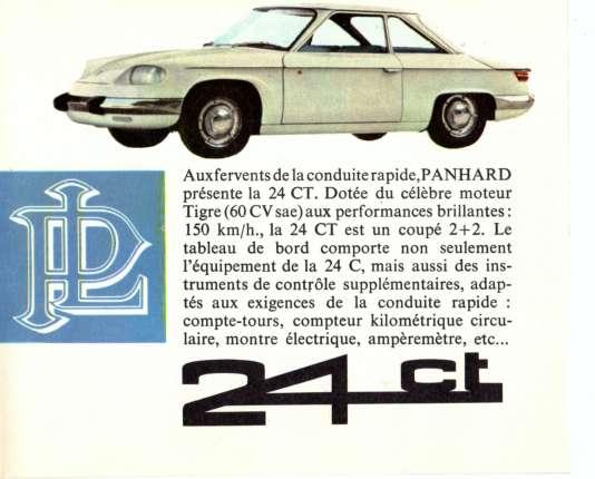 Une publicité pour la Panhard 24 CT.