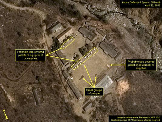 Cette image satellite, publiée et annotée par Airbus Defence & Space et 38North, le 12avril, montre le site de test nucléaire de Punggye-ri, en Corée du Nord.