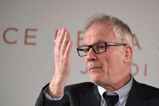 Le délégué général du Festival de Cannes, Thierry Frémaux, lors de la conférence de presse de la 70e édition à Paris, le 13avril 2017.