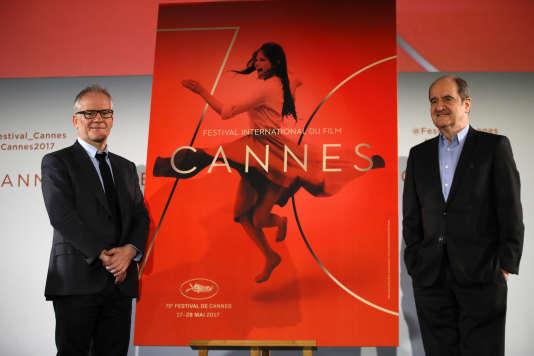Le directeur général du festival de Cannes, Thierry Frémeaux, et le président, Pierre Lescure, lors de la conférence de présentation de la 70eédition.