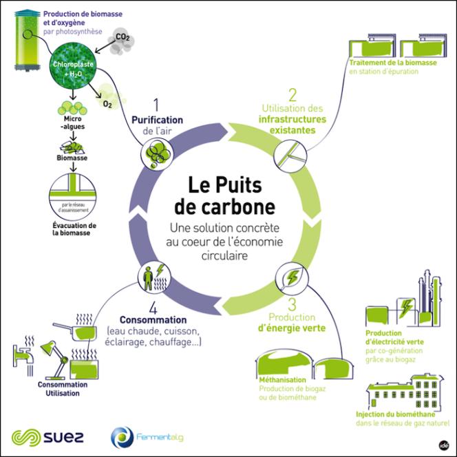 Le puits de carbone produit une énergie «verte» réinjectable dans le réseau de gaz selon le principe de l'économie circulaire.