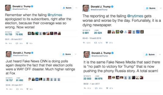 Captures d'écran du compte Twitter du président des Etats-Unis, qui s'en prend régulièrement aux médias.