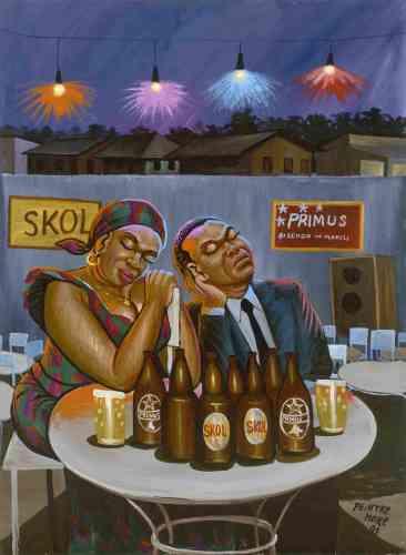 «Peintre reporter de Kinshasa, Moke développe un style réaliste et exubérant, nourri par l'observation de son environnement. Conscient des bouleversements politiques de son pays, il ancre pourtant ses peintures dans la jovialité des fêtes nocturnes, des disputes de voisinage, des défilés et des cérémonies».