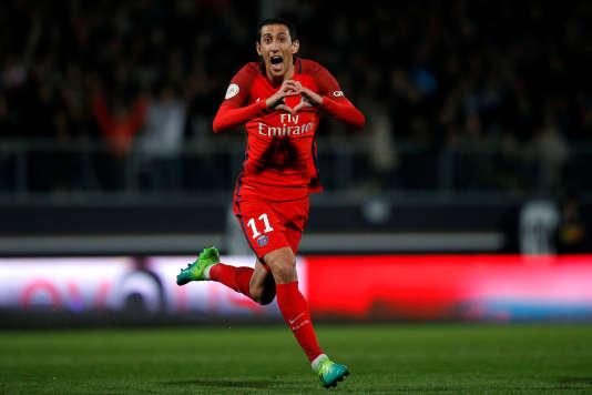Angel Di Maria, dit « el Fideo», célèbre la victoire de son équipe.