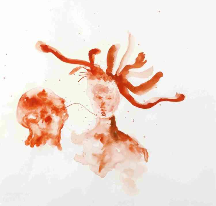 «Les dessins à l'aquarelle de Barthélémy Toguo représentent, dans un style économe, des formes organiques liées à un rituel d'initiation».