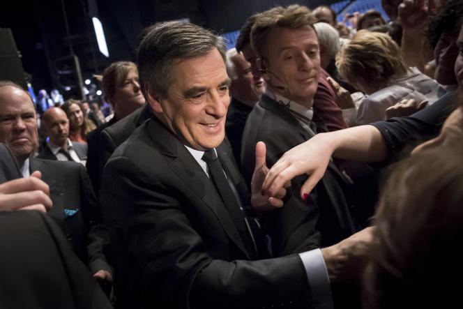François Fillon, candidat LR à la présidentielle, participe à un meeting de campagne au Zénith de Toulouse, jeudi 13 avril.