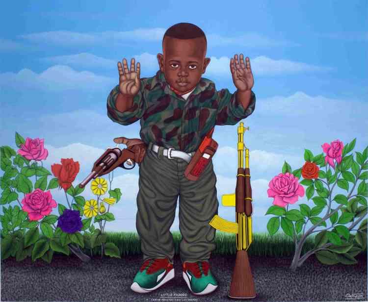 «Figure emblématique de la peinture populaire congolaise, Chéri Samba s'inspire de la vie quotidienne et de sujets tirés de l'actualité politique, économique, sociale et culturelle. Au-delà de la peinture elle-même, ses œuvres traduisent un message universel».