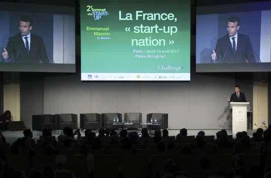 Emmanuel Macron lors du Sommet des start-up, le 13 avril au palais Brongniart.