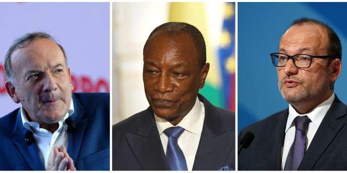 Le président du Medef, Pierre Gattaz, le président guinéen, Alpha Condé, et le directeur général de l'AFD, Rémy Rioux.