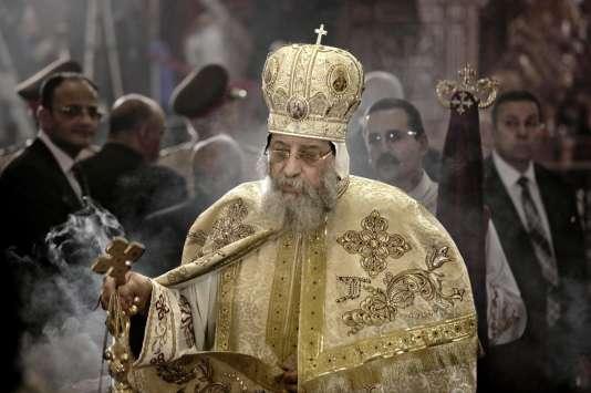 Le pape copte Théodore II, le 15 avril 2017 au Caire.