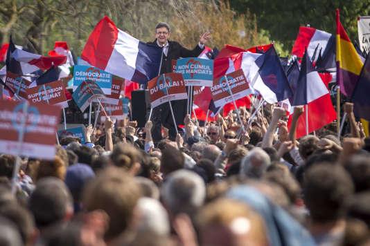 Jean-Luc Mélenchon, à un meeting de campagne sur la prairie des Filtres, à Toulouse, le 16 avril.