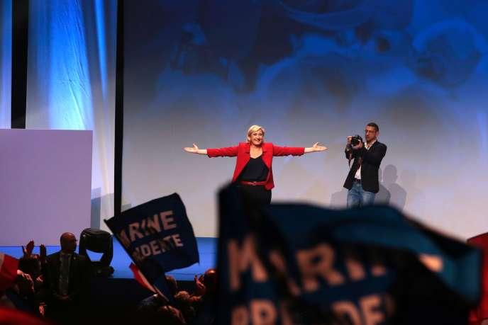 Marine Le Pen, le 17 avril 2017, au Zénith de Paris.