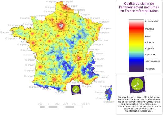 La qualité de la nuit en France, en 2015, apparaît médiocre dans la plupart des régions de France.