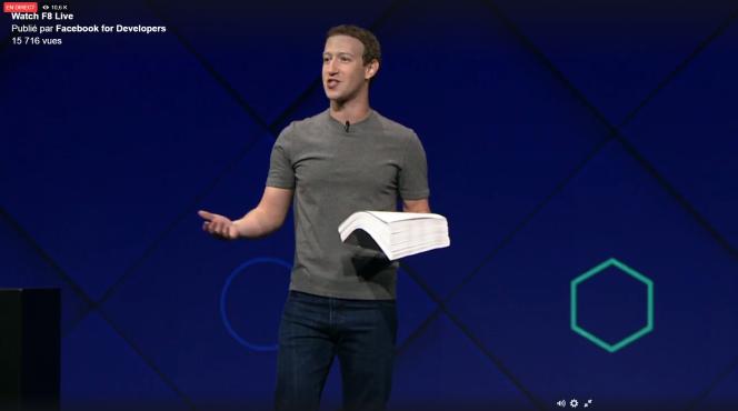 Mark Zuckerberg, le 18 avril lors de l'ouverture de la conférence Facebook F8.