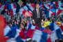 Emmanuel Macron, candidat du mouvement En Marche! à la présidentielle 2017, à l'Accor Arena de Bercy à Paris, lundi 17 avril 2017.