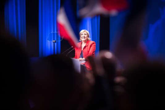 Marine Le Pen le 17 avril au Zénith de Paris.