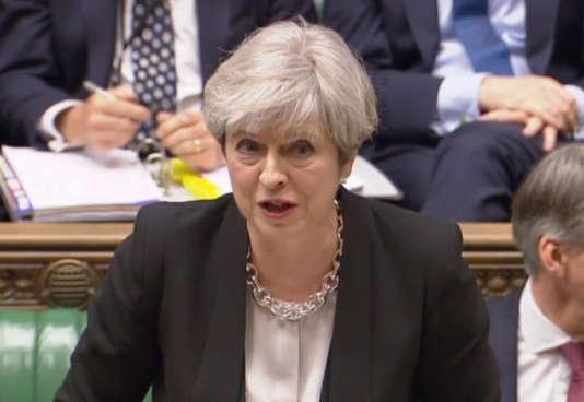 Theresa May, la première ministre britannique, à Londres, le 19 avril.