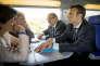 Emmanuel Macron, lors de la campagne pour la présidentielle, le 19 avril 2017. Il est assis face à Sylvie Goulard et à côté de Jean-Yves Le Drian qui ont été respectivement nommés, le 17 mai, ministyre des armées et ministre de l'Europe et des affaires étrangères.