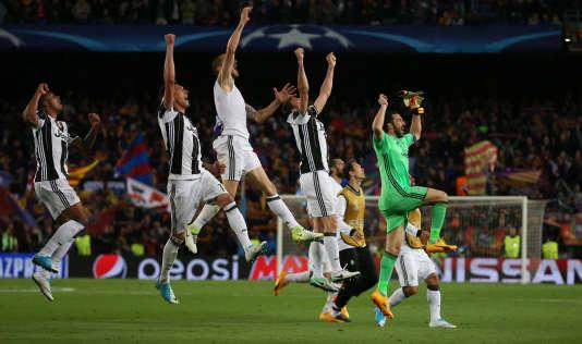 La joie des Turinois après leur qualification face au FC Barcelone.