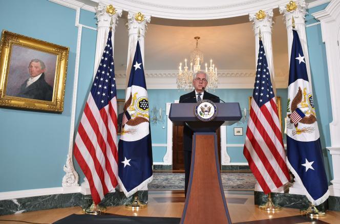 Le chef de la diplomatie américain, Rex Tillerson, dans lasalle du Traité du département d'Etat, à Washington, le 19avril.