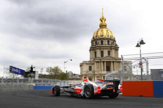 Lors des qualifications pour l'ePrix de Paris le 23 avril 2016.