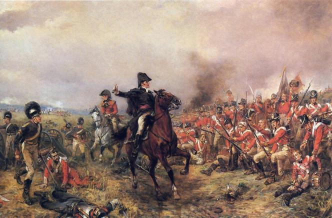 « Après la victoire contre Napoléon en 1815, priorité est donnée à la stabilité monétaire et à la réduction de la dette publique par l'impôt sur la consommation». (Illustration : Le duc de Wellington à la bataille de Waterloo, en 1815. Tableau de Robert Alexander Hillingford).